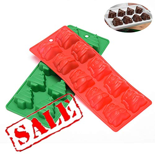 10 Hohlräume Weihnachtsbaum + Santa Claus Silikon Schokolade Backform, Antihaft-Kuchen Pfanne Muffin Cups von KeepingcooX, handgemachte Soap Moulds Keks Gelee Eiswürfel DIY Mold, Red & Green