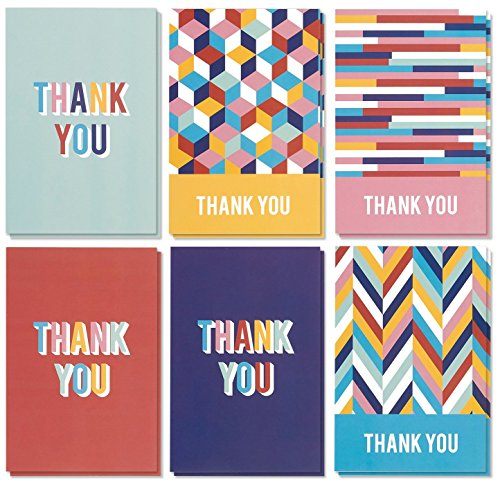 Blank Thank You Cards with White Envelopes, 6 Designs (4 x 6 In, 48 Pack)