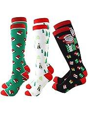 CLISPEED 3 pares de calcetines de compresión, medias de Navidad, graduadas, calcetines transpirables, para correr, enfermeras, de viaje en vuelo, altavoz M