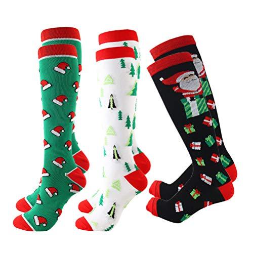 CLISPEED 3 Paar Kompressionsstrümpfe Weihnachten Graduiert Atmungsaktiv Sport Socken für Laufen Krankenschwestern Reise Flugzeug Lautsprecher L