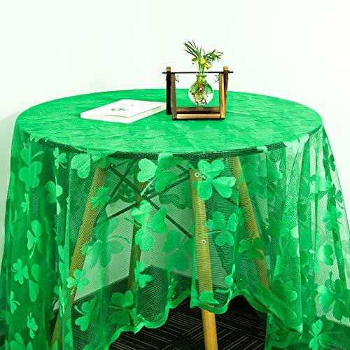 sirecal St Patricks Day Manteles, Trébol Mantel Rectangular Verde Mantel Encaje Costura Macramé Shamrock Mantel St Patricks Day Decoraciones