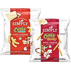 Includes 36 (0.875oz) bags of Simply Cheetos Snacks, 18 bags each of White Cheddar Crunchy and White Cheddar Puffs Bold, cheesy white cheddar flavor in every crunchy bite Simply put: our Simply snacks are the ones you feel good about sharing with the...