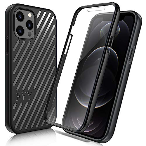 "FYY [Resist Harmful Organism] Case for iPhone 12 / iPhone 12 Pro 5G 6.1"", [Built-in Screen Protector] Heavy Duty Protection Full Body Protective Bumper Case Cover for iPhone 12/12 Pro-Black"