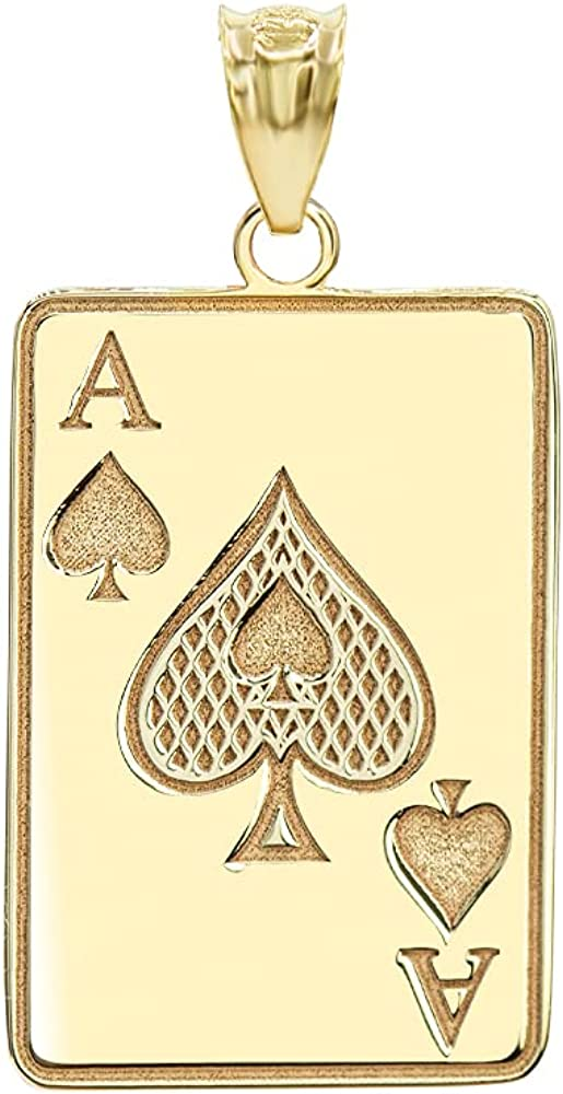 Good Luck Charm Certified 10k Gold Personalized Name Poker Card Ace Of Spades Hip Hop Pendant