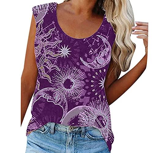 Camiseta elegante para mujer, lisa, sin mangas, corta, para chaleco, informal, básica, cómoda, para adolescentes, niñas y mujeres. morado XL