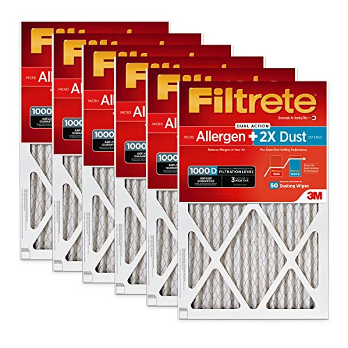 Filtrete MPR 1000D 16x25x1 AC Furnace Air Filter, Micro Allergen PLUS DUST, 6-Pack (Holds 2X More Dust!)