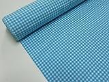 Confección Saymi Metraje 2,45 MTS Tejido Vichy, Cuadro pequeño 5x5 mm. Color Azul Turquesa, con Ancho 2,80 MTS.