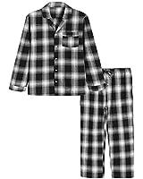 Latuza Men's Cotton Pajama Set Plaid Woven Sleepwear XL Black