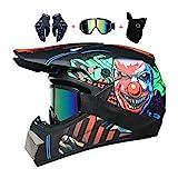 LEENY Cascos de Motocross de Moto Set con Gafas/Guantes/Máscara, Adultos y Niños BMX Cascos...