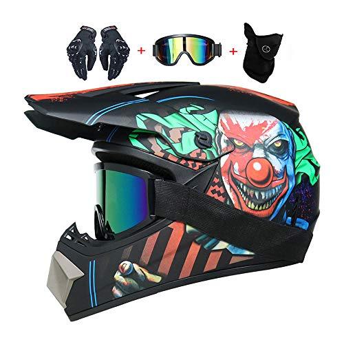 LEENY Cascos de Motocross de Moto Set con Gafas/Guantes/Máscara, Adultos y Niños BMX Cascos de Cross Moto Off-Road Enduro Downhill Casco Racing ATV MTB Cascos de Motos Payaso Pegatinas,L(56~57cm)