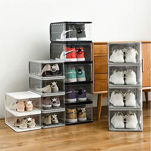 AIMCAE Organizador de Almacenamiento de Zapatos apilable, Cajas de exhibición de Zapatos de plástico Transparente de 15 Piezas, gabinete de Zapatos Modular,Caja de Almacenamiento de Zapatos Plegable