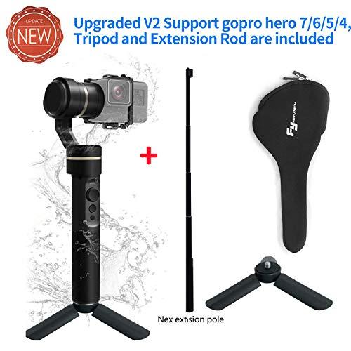 Feiyu Update Version Stabilizzatore per videocamere sportive G5 con giunto cardanico a tre assi, ideale per GoPro HERO3, HERO4, HERO5, Yi Cam 4K per AEE e videocamere sportive di grandezza simile