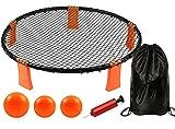 LUCKSWET Spike Ball Set de juego, juego de equipo, césped, juego de voleibol, juego de Strike Ball, juego de roundnet con 3 pelotas para exteriores, casa, jardín, playa, parque