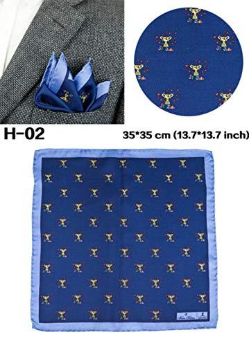 Boner Heren Hanky pochet Multicolor zijden bedrukte accessoires Kleurrijke zakdoek Handgemaakt pak voor mannen, 02