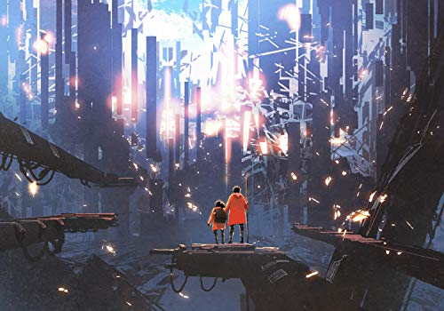 wandmotiv24 Fototapete Anime Familie Reise Stadt, XS 150 x 105cm - 3 Teile, Fototapeten, Wandbild, Motivtapeten, Vlies-Tapeten, Fantasy Futuristisch Skyline Kabel M5844