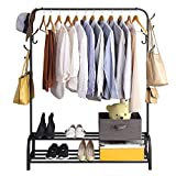 Clothing Garment Rack with Shelves, Metal Cloth Hanger Rack Stand Clothes Drying Rack for Hanging Clothes,with Top Rod Organizer Shirt Towel Rack and Lower Storage Shelf for Boxes Shoes Boots, Black