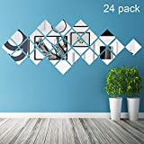 Réglage Miroir Acrylique Amovible Autocollant Mural Décalque pour Maison Salon Chambre Décor (Style 8, 24 Pièces)