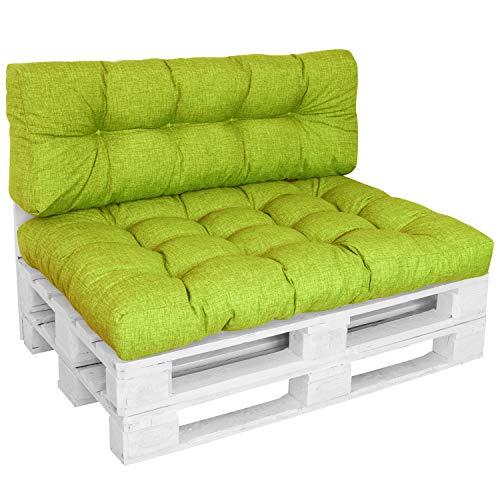 DILUMA | Set 2 pièces Vert Pomme | Assise 120x80 cm + Dossier Long 120x40cm | Coussin Comfort pour Sofa Palette Europe résistant aux éclaboussures
