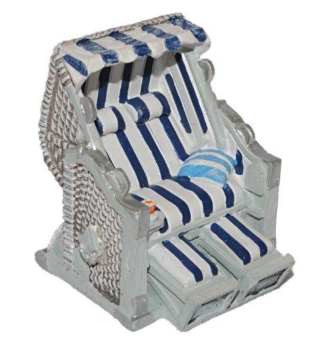 alles-meine.de GmbH 3-D Figur Strandkorb blau weiß - z.B. als Tischdeko Mini Deko Dekofigur - Ostsee Meer Nordsee Maritim Klein Strandkörbe