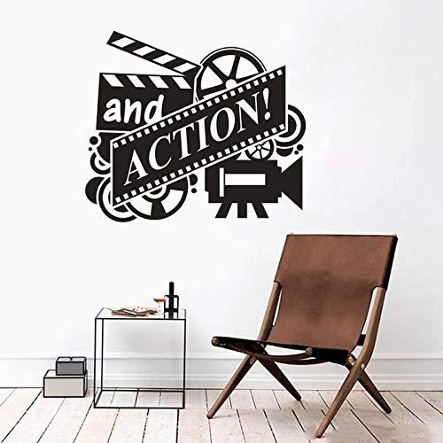 Calcomanías de pared para reproductor de carretes de película, señal de acción de la pared, pegatina de la sala de cine, papel pintado de la película de la cámara A5 42 x 3