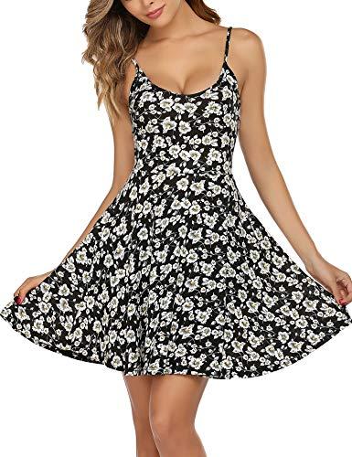 Unibelle Damen V Ausschnitt Kleid Damen Spitzenkleid Träger Rückenfreies Kleider Sommerkleider Strandkleider