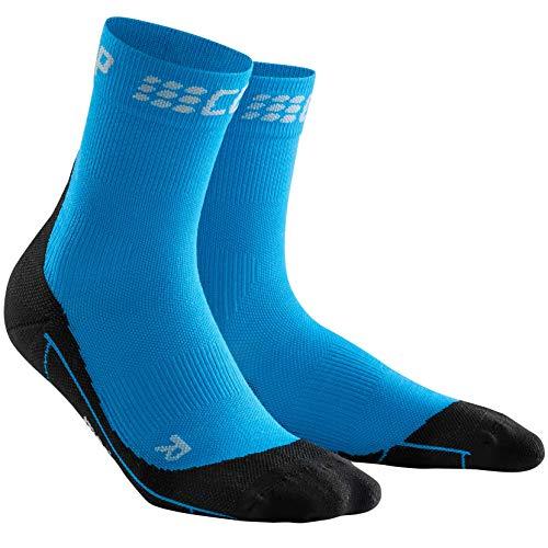 CEP – Winter Short Socks für Herren | Warme Laufsocken mit Kompressionswirkung in blau/schwarz | Größe IV