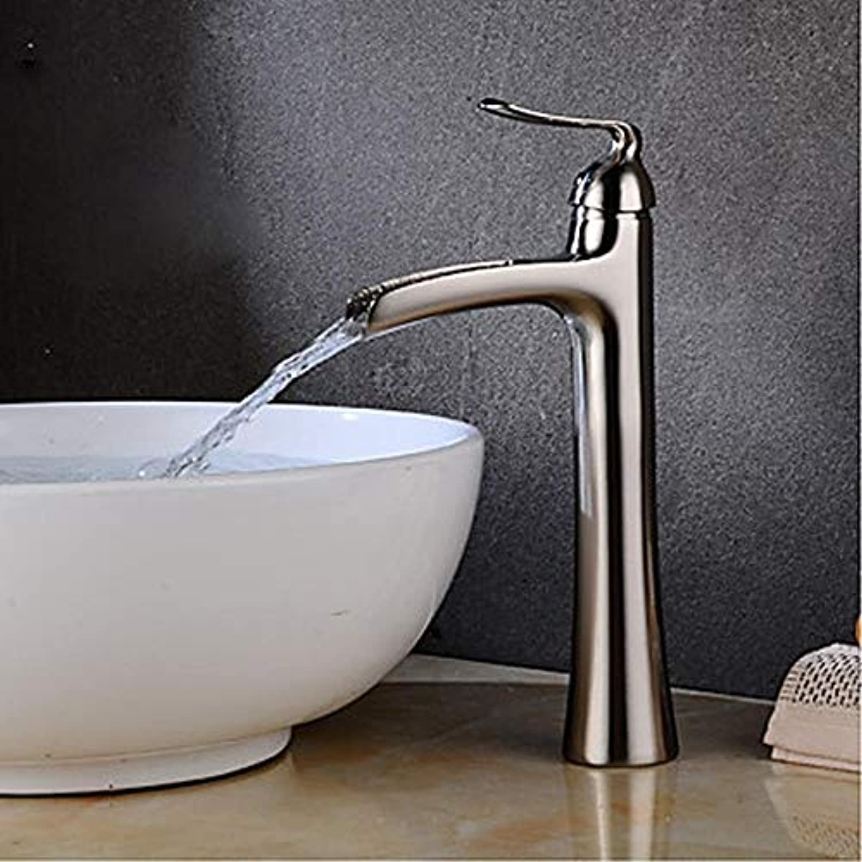 Waschbecken Wasserhahn-Wasserfall Chrom Nickel-Bürste zentralen Satz Einhand-Einloch-Wasserhahn