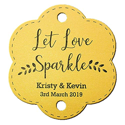 Summer-Ray 48 Personalized Shimmered Gold Wedding Sparkler Tags Let Love Sparkle