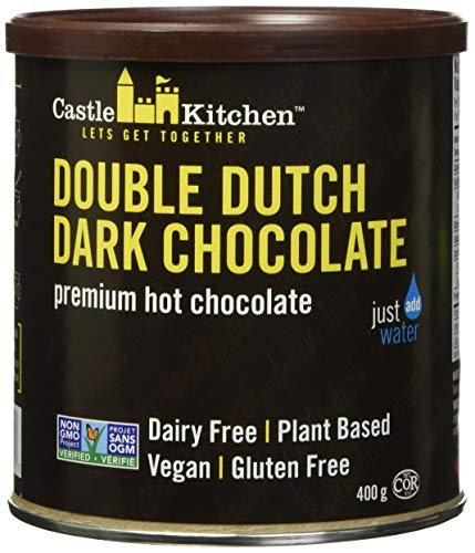 Castle Kitchen Double Dutch Dark Chocolate - Dairy-Free, Vegan Premium Hot Chocolate Mix - Just Add Water - 14 oz