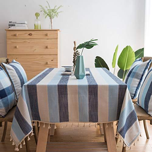 songcloth Mantel Impermeable Stripe, Mantel De Mesa De Cocina Mantel Rectangular Mesa De Comedor Mesa De Comedor, Mesa De Comedor/Mesa De Centro/Jardin/Fiesta 140 * 160cm