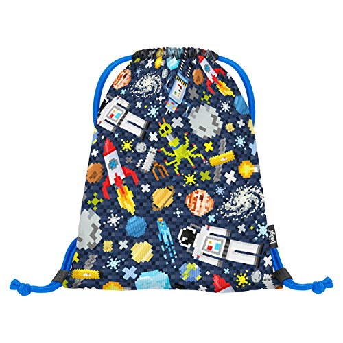 Baagl Turnbeutel für Junge, Schuhbeutel für Kinder, Schule und Kindergarten Sportbeutel, Sportrucksack, Gymsack (Space Game)