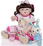 Reborn Baby Dolls 23 Pulgadas 57Cm Lavable de Cuerpo Completo Vinilo Silicona Bebé Hecho a Mano Realista Muñeca Reborn Baby Girl Toddler Free Magnet Chupete Mejor Juego de cumpleaños