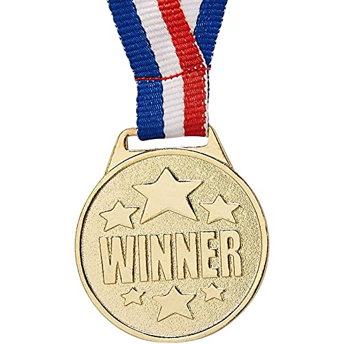 Juvale 12-Pack Bulk Style Gold Winner Award Medals with Ribbons for Sports, Competitions, Spelling Bees, Party Favors 1.5 Inches Diameter, 15.3 Inches Ribbon Length