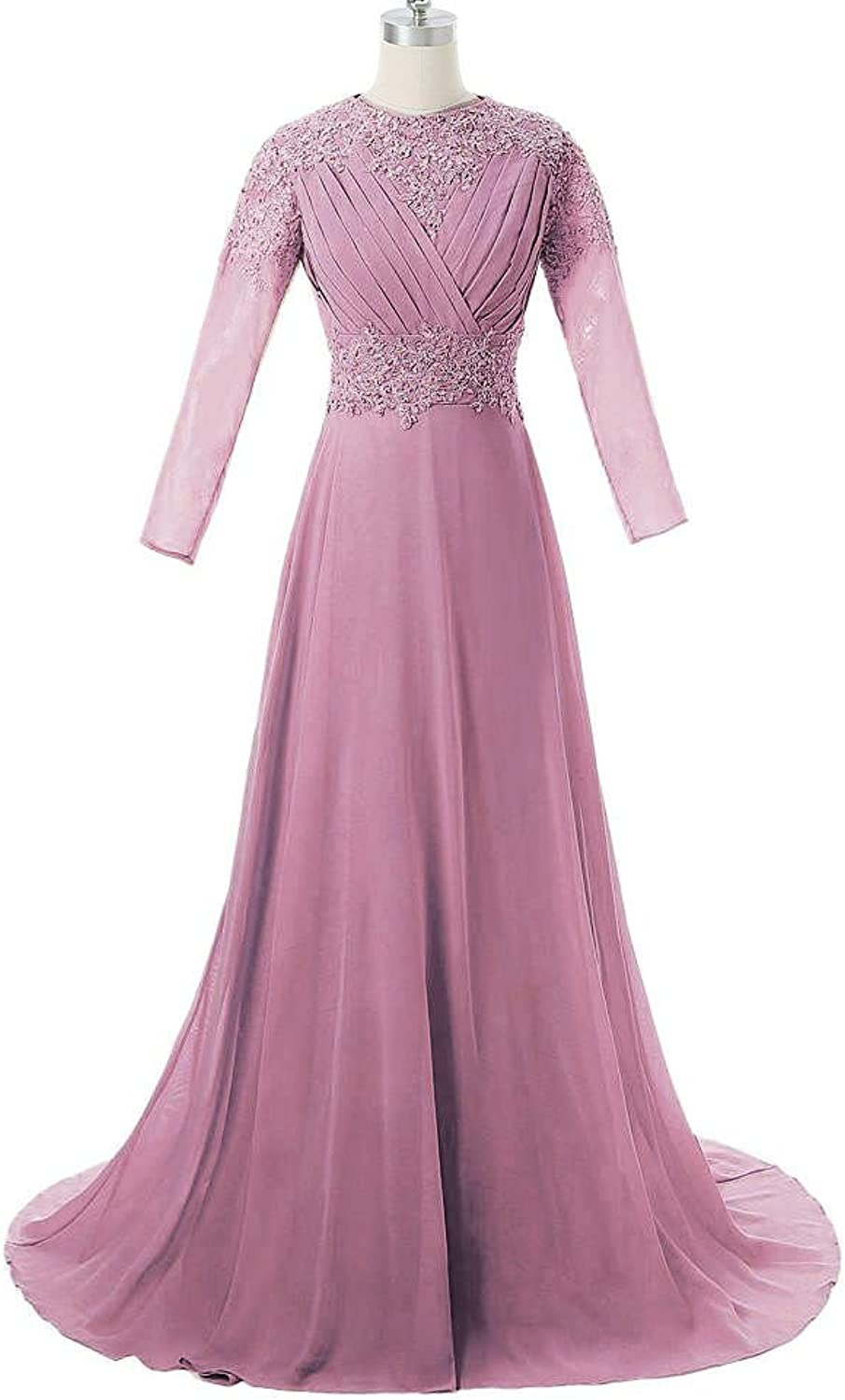 DINGZAN 2018 Bridesmaid Mother of the Bride Dresses with Long Sleeves