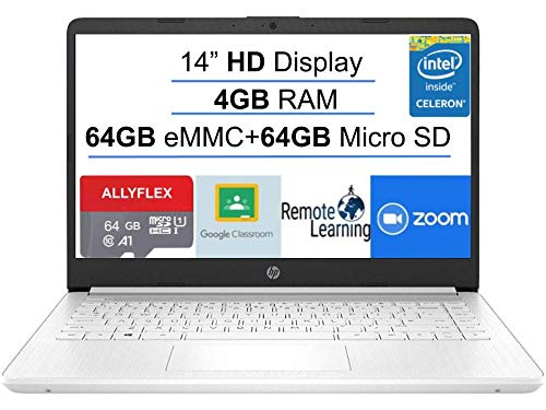 2021 Newest HP Stream 14-inch HD Laptop, White, Intel N4020 up to 2.8 G, 4G RAM, 128G Space(64G eMMC+64G Micro SD), WiFi, Webcam, Bluetooth, Windows 10 S, Office 365 Personal for 1 Year, Allyflex MP