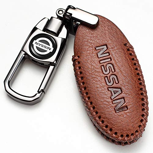 car Key Fob case for Nissan Quest, X-Trail, 370Z, GTR, Patrol, CIMA, Fuga,Altima, Armada, Maxima, Rogue, Cube, Pathfinder, Sentra, Juke,Leaf, Titan,Teana,etc. Genuine Leather Key Cover 4 Buttons
