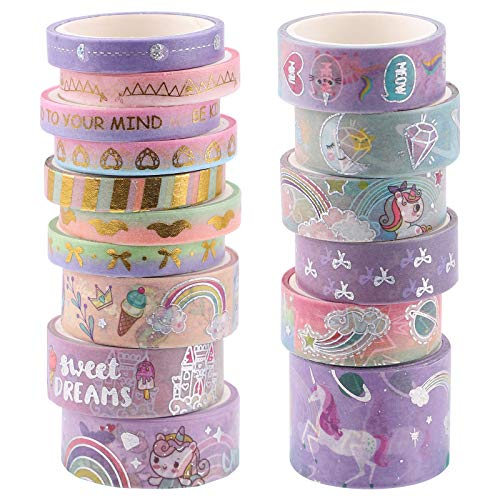 Juego de cintas Washi, 16 rollos de cinta decorativa de lámina dorada, cintas adhesivas Washi, cinta para álbumes de recortes, para manualidades, envoltura de regalos