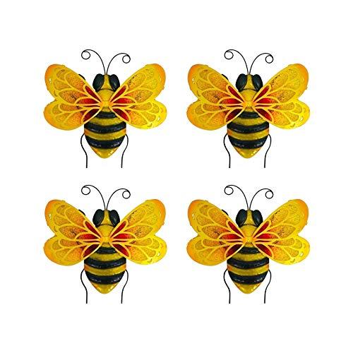 métal Bumble Bee Décorations, Bumblebee Garden Accents Yard Clôture 3D Sculpture Ornements, Lawn Bar Tenture Murale Bumblebee Art Décoration