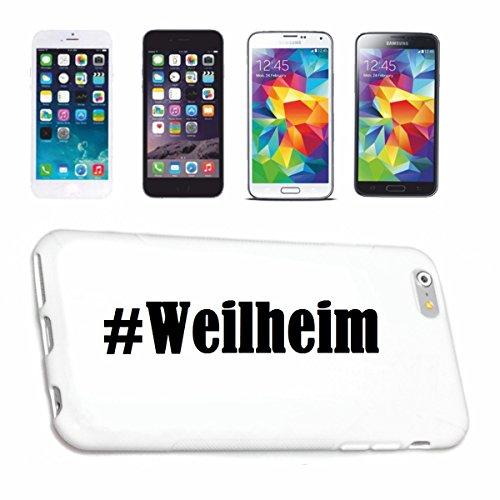 Reifen-Markt Handyhülle kompatibel für iPhone 4 / 4S Hashtag #Weilheim im Social Network Design Hardcase Schutzhülle Handy Cover Smart Cover
