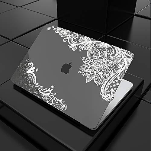 Estuche SDH para MacBook Air 2020 de 13 pulgadas, MacBook Air A2337 M1 A2179 A1932, computadora portátil y cubierta para teclado con tecnología de estampado en caliente, cordón plateado metálico 3