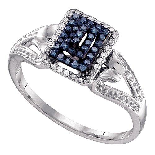 Jewels By Lux Anillo de racimo de Diamantes de Color Azul para Mujeres 9.5