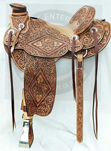 """ME Enterprises Wade Tree A Fork Premium Western Leather Roping Ranch Work Horse Saddle, Size 14"""" to 18"""" Inches Seat Available (18"""" Inches Seat)"""