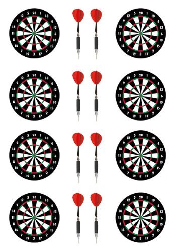 PRE-CUT DARTBOARD & DARTS EDIBLE RICE / WAFER PAPER CUP CAKE TOPPERS PARTY BIRTHDAY DECORATION by Sport