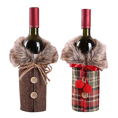 YYIXING 2 fundas para botellas de vino de Navidad, bolsa de botella de vino, bolsa de fiesta, bolsa de regalo para botellas de vino, decoración del hogar