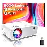 Proyector WiFi, Proyector Portátil, 6000 Lúmenes, Soporta 1080p Full HD, Cine en Casa 300' Duplicar Pantalla para...