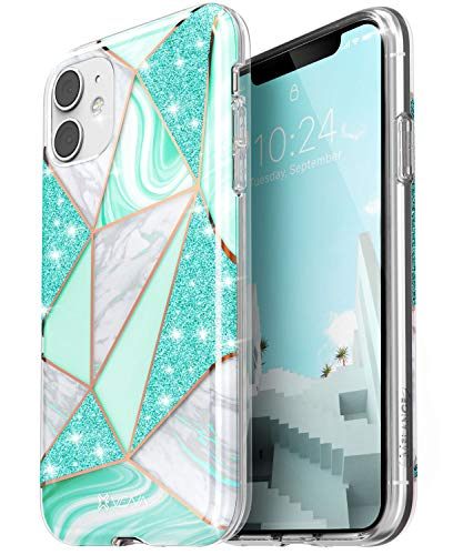 "VENA iPhone 11 Marble Case, Melange (Drop Proof Protection) Stylish Glitter Sparkle Bumper Case Cover Designed for Apple iPhone 11 (6.1""-inch) - Teal"
