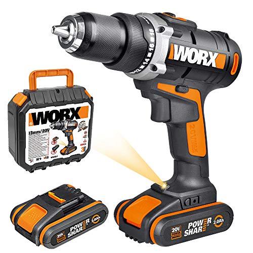 WORX WX183.1 Akkuschrauber 20V - 50Nm, 2-Gang-Getriebe & LED-Licht – Akkubohrschrauber Set zum Bohren & Schrauben - mit 2 Li-Ion Akkus, Ladegerät & Werkzeugkoffer