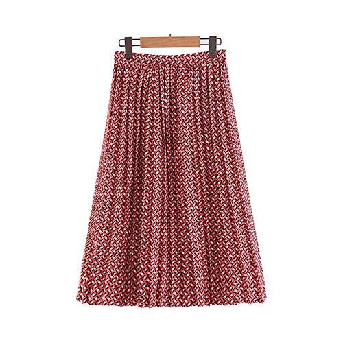 Vrouwen Elegante Print Plissé Rok Elastische Taille Vrouwelijke Casual Stijlvolle Zomer Mid Calf Rokken