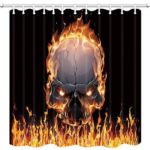 JAWO Magischer Duschvorhang, brennender Totenkopf mit Flamme, Polyestergewebe, Badezimmerdekoration, Badvorhang mit Haken, Badzubehör, 174 x 178 cm