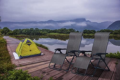 PURPLE LEAF Juego de 2 tumbonas plegables para jardín, tumbona de jardín con respaldo alto, silla de camping para terraza, césped, jardín, cubierta, piscina, bronce